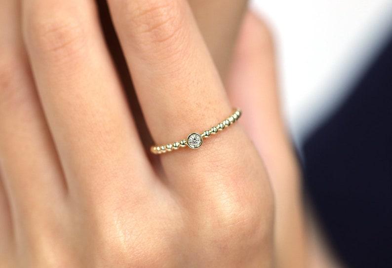 0.05CT Diamond Bezel Gold Bead Ring.Gold Bead Band.14K Gold image 0