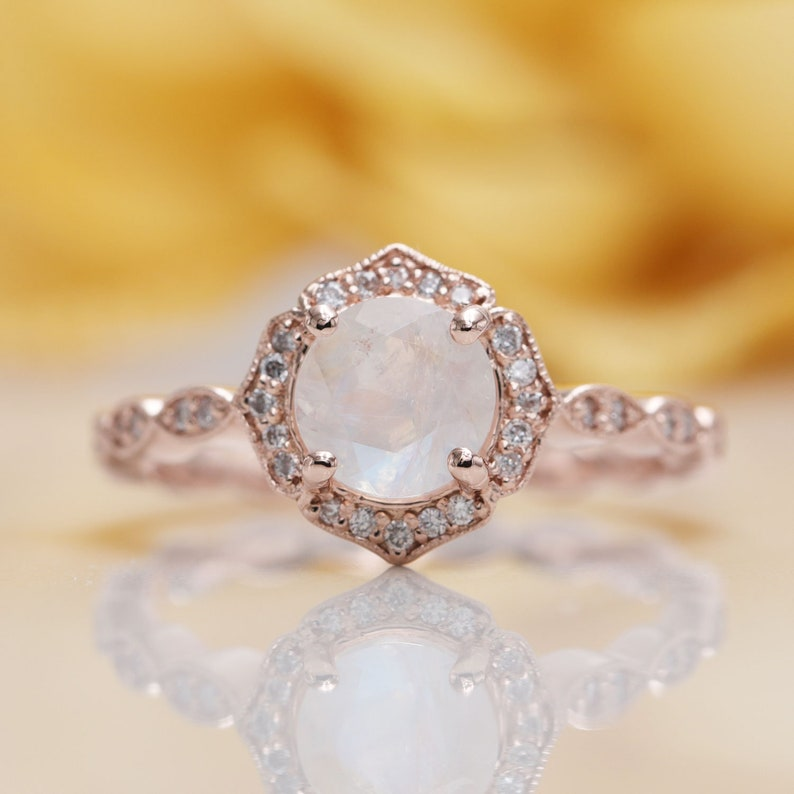 Natural High Quality Moonstone Floral Engagement image 0