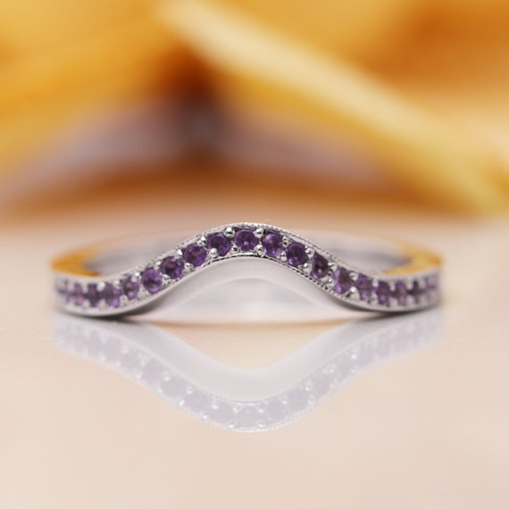 14K Solid Gold Curved Wedding Amethyst Band/Amethyst Wedding Band/Perfect Matching Band/Purple Gem Ring/Wedding Band/Unique Band/Gift Ring