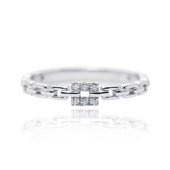 14k Gold Diamond Chain Wedding Band/Diamond Ring/Perfect Matching Band/Link Chain Ring/Stacking Ring/Rolex chain Ring/Chain Ring/Wedding
