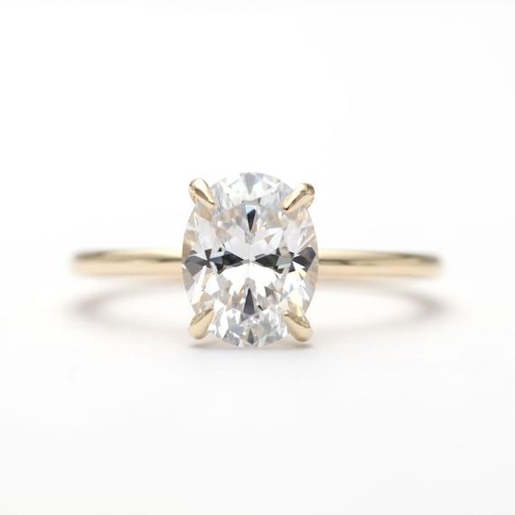 14k Gold Oval White Topaz Engagement Ring/Topaz Engagement Ring/Oval Topaz  Ring/Gold Proposal Ring/Engagement Ring/Vintage Engagement Ring