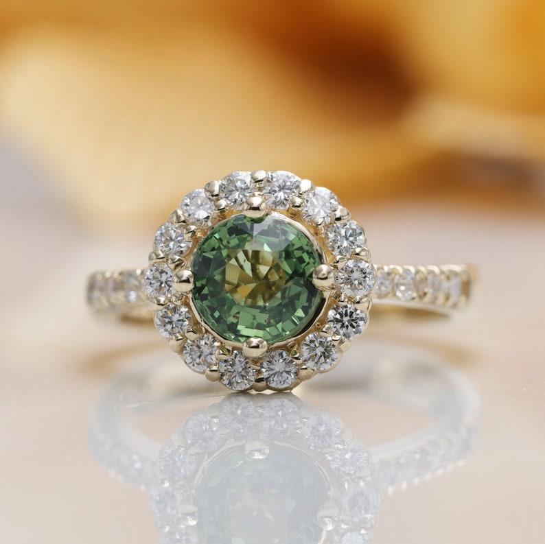 Natural Green Sapphire Halo Diamond Engagement Ring/ Natural image 0