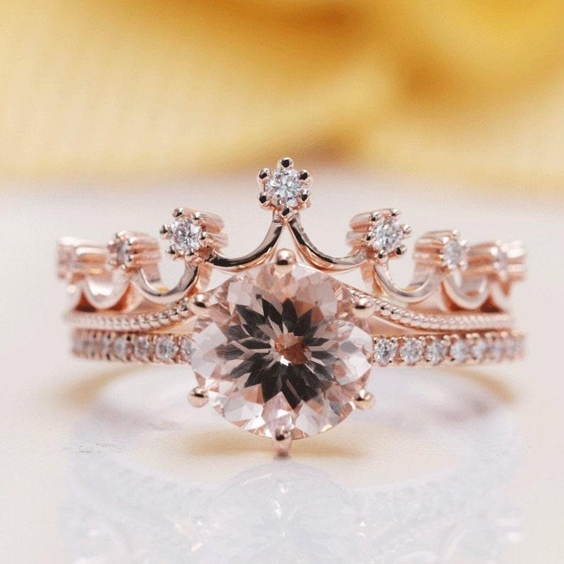 14K Gold 8MM Morganite Diamond Crown Bridal Ring Set/Rose Gold image 0