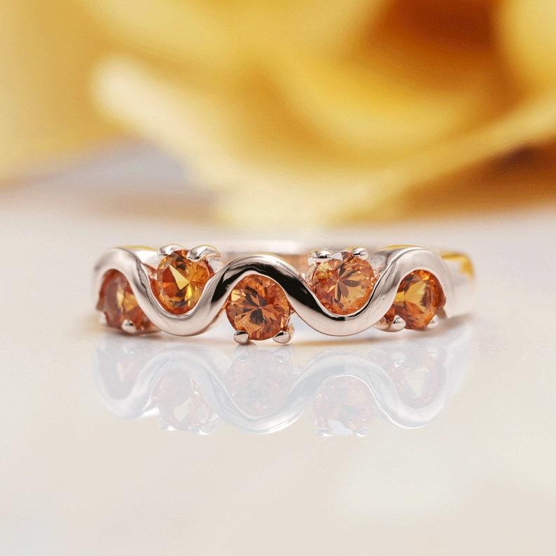Orange Sapphire Wave Wedding Band with 14K Solid Gold/Orange image 0