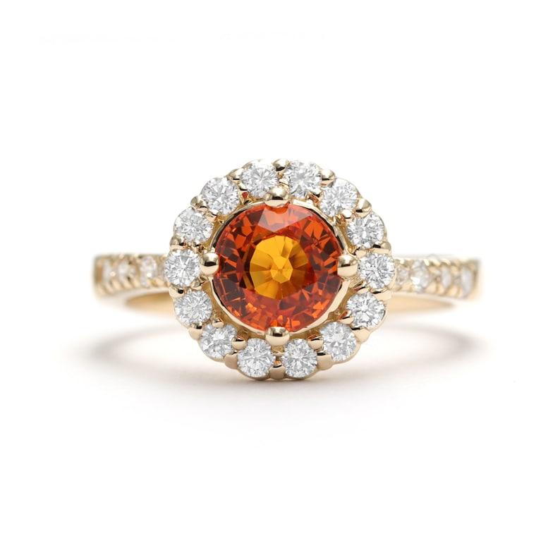 Natural Orange Sapphire Diamond Halo Engagement Ring/ Sapphire image 0