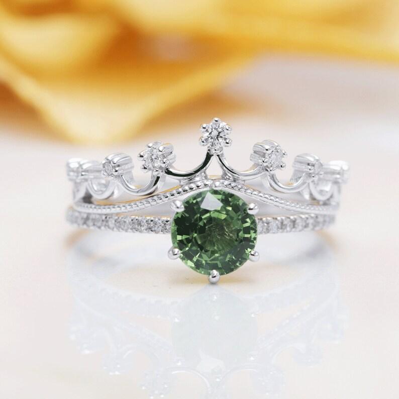 14K Gold Green Sapphire Diamond Crown Bridal Ring Set/Natural image 0