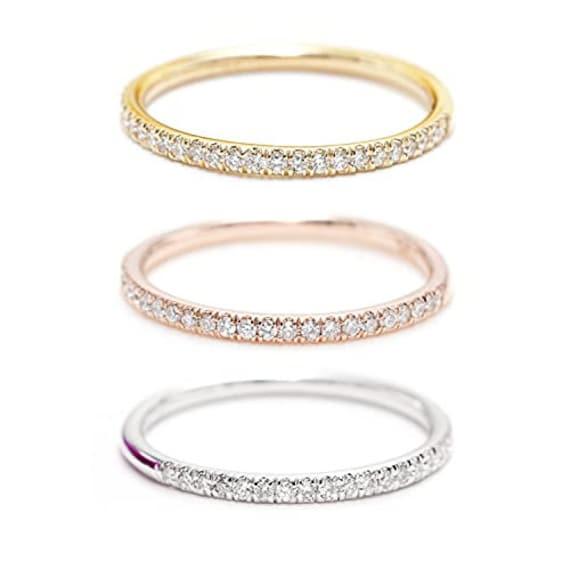 14K Gold Set of two 1.7 MM Halfway Diamond Eternity Band/Diamond Wedding Band/Promise Diamond Ring/Perfect Matching Band for Engagement/Band