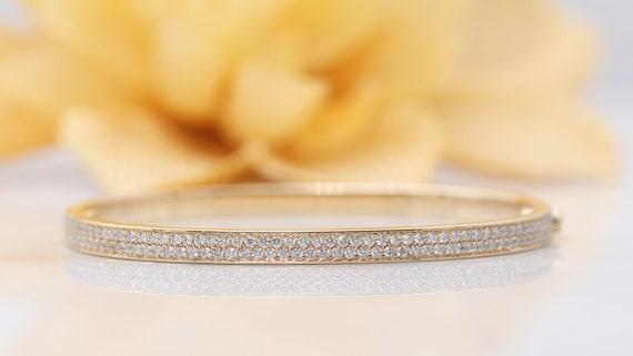 14k Gold Diamond Bangle/2 Rows Diamond Pave Bracelet/Gold Bracelet/Diamond Bracelet/Valentine Bracelet/Diamond Bangle/Love Diamond Bracelet