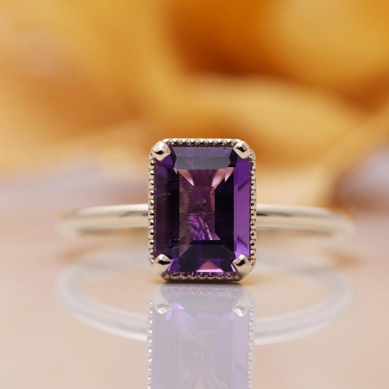 14K Gold Emerald Cut  Red Garnet Ring/Red Garnet Engagement image 0