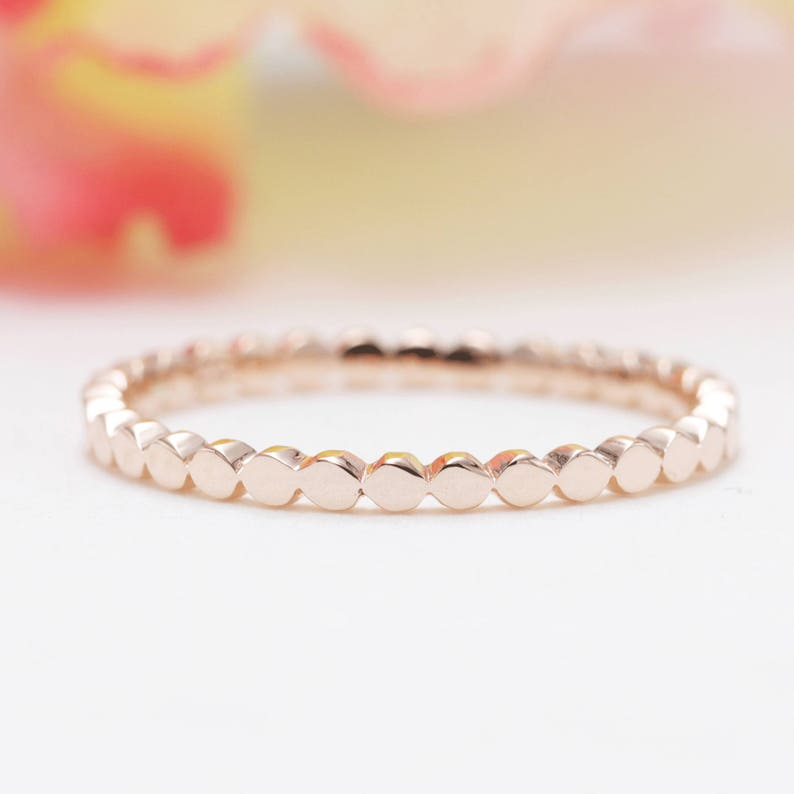 14K Rose Gold Flat Bead Ring /Dotted Band/Perfect Matching image 0