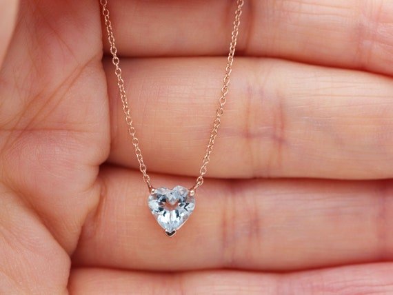 14k Gold Heart Aquamarine Necklace/14k Gold Blue Gem Necklace/Heart Necklace/Dainty Love Pendant/Layering Diamond Necklace/Christmas Gift