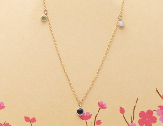 14K Gold Color Gem Bezel Necklace/Bezel Necklace/Layering Necklace/Valentine Necklace/Gift Necklace/Graduation Necklace / Multi Gem Necklace