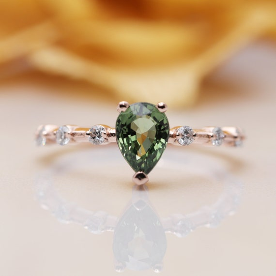 14k Gold Pear shaped Green Sapphire Diamond Engagement Ring/Green Gem Classic Engagement ring/Birthday Diamond Ring/Tear Drop Sapphire ring
