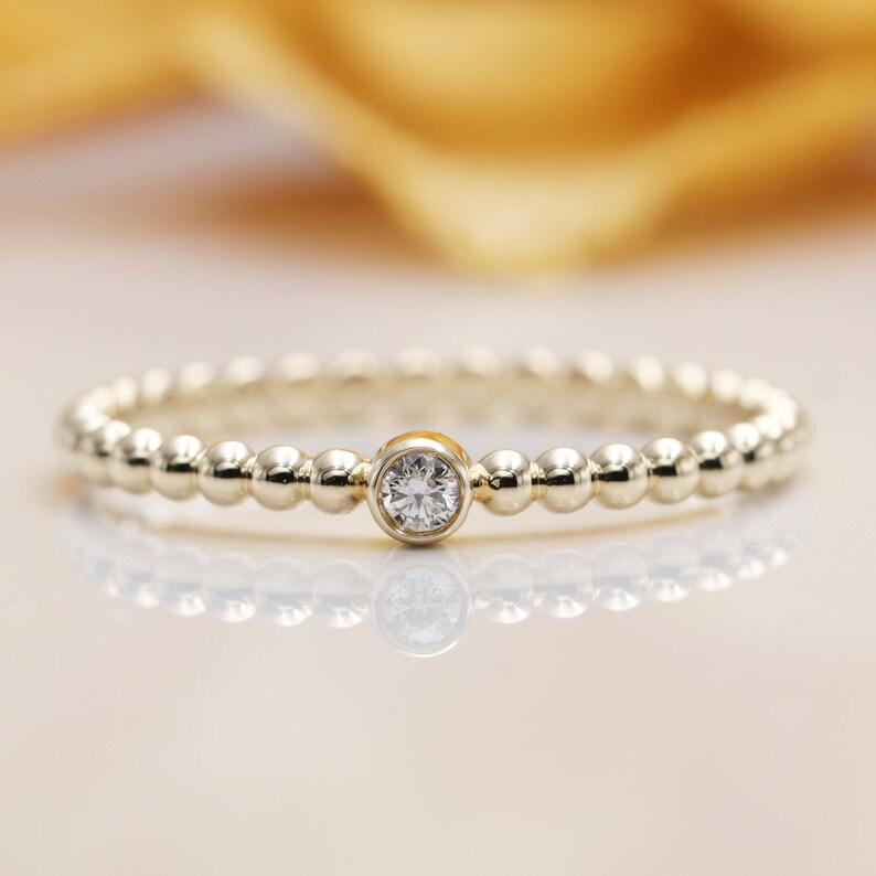 0.03CT Diamond Bezel Gold Bead Ring.Gold Bead Band.14K image 0