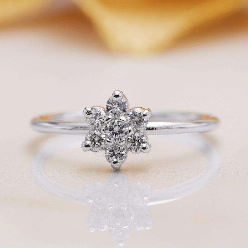 14K White Yellow & Rose Gold Snowflake Diamond Engagement image 0