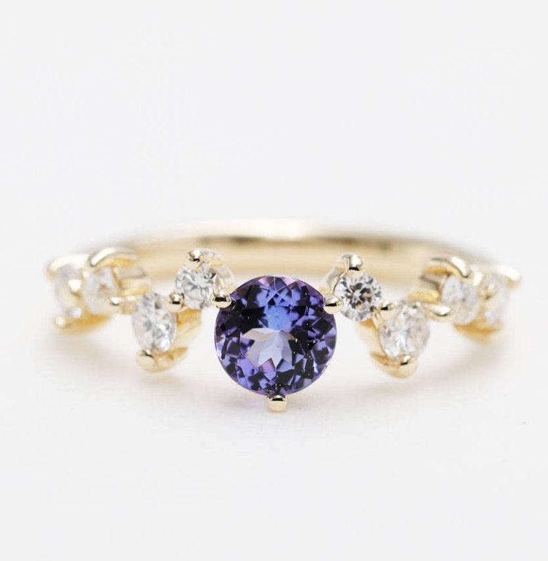 Natural Blue Tanzanite 0.5CT & Diamond Engagement Ring/14K image 0