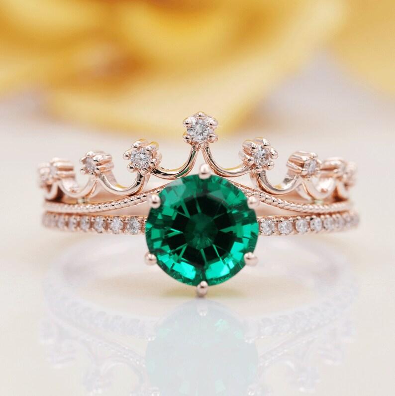 14K Gold 8MM Lab Emerald Diamond Crown Bridal Ring Set/Rose image 0