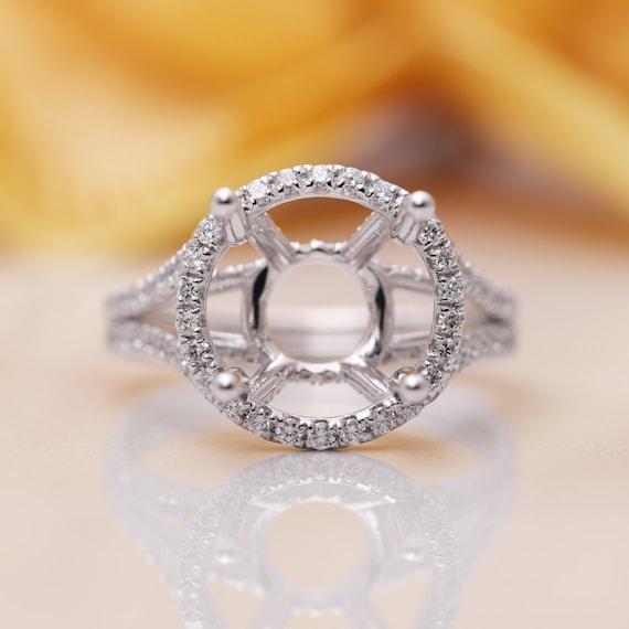 14k Gold 2 ct Halo Diamond Engagement Ring Mounting/Diamond Engagement Ring/ 14K Gold Proposal Ring/Halo Engagement Ring/Diamond Gold Ring