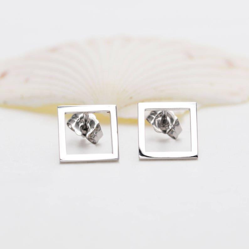14K Gold Square EarringsGeometric StudsMinimal EarringsGeometric EarringsDainty EarringsDelicate EarringsSmall StudsGift for Her