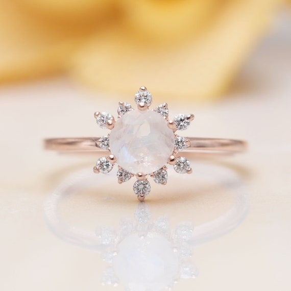 Natural High Quality Moonstone Floral Engagement Ring/Moonstone Engagement Ring/ 14K Rose Gold Proposal Ring/Diamond Engagement Ring/Gift
