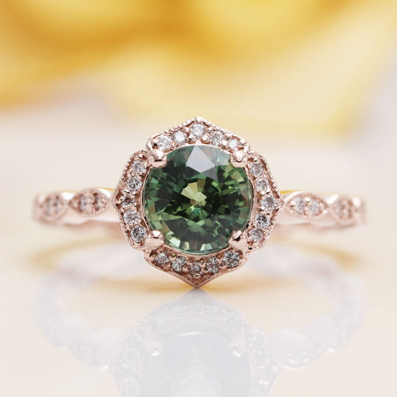 Natural Green Sapphire Floral Engagement Ring/ Sapphire image 0