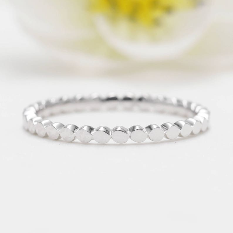 14K White Gold Flat Bead Ring /Dotted Band/Perfect Matching image 0