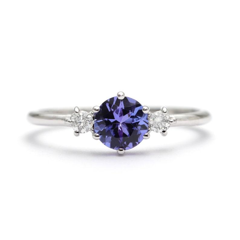 14K Gold High Quality 0.7 CT Blue Tanzanite Diamond Engagement image 0