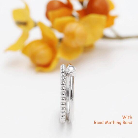 Engagement Ring.Promise Ring.Stacking Band,Layered Ring White 14K Gold Bezel Diamond Ring Rose Gold Band 0.11 CT Diamond Ring.14K Yellow