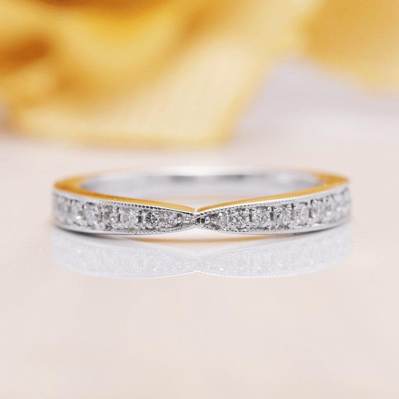 14K Gold Half Eternity Diamond Matching Band/Diamond Wedding image 0
