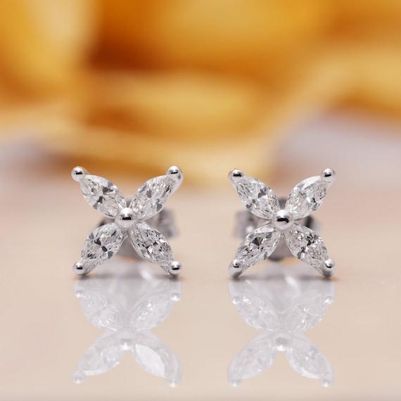 14k Diamond Leaf Stud Earring/Tear Drop Diamond Stud Earrings/Crown Earrings /14K Solid Gold Earrings/Minimal Stud Earrings/Diamond Earrings