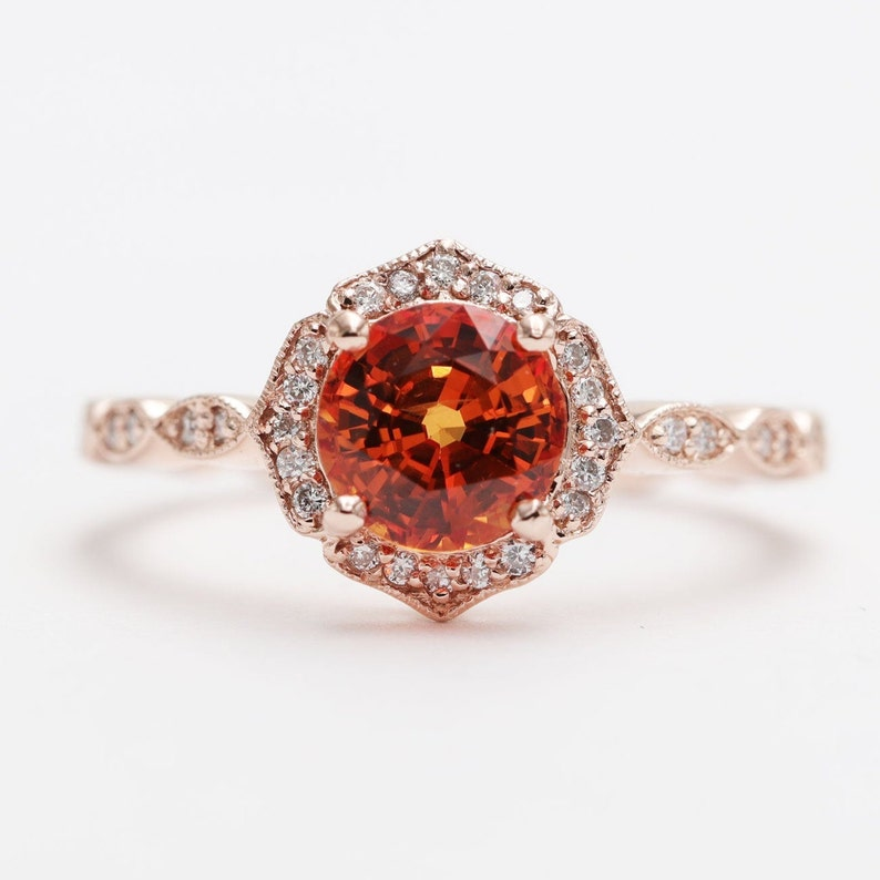 Natural Orange Sapphire Floral Engagement Ring/ Sapphire image 0