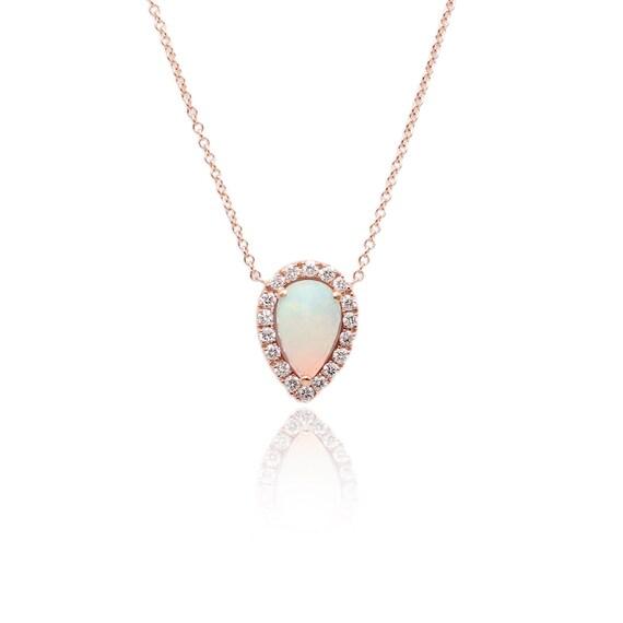 14k Gold Tear Drop Opal Diamond Necklace/Opal Necklace/Birthday Diamond Necklace/Anniversary Necklace/Engagement Necklace/Opal Pendant/Opal