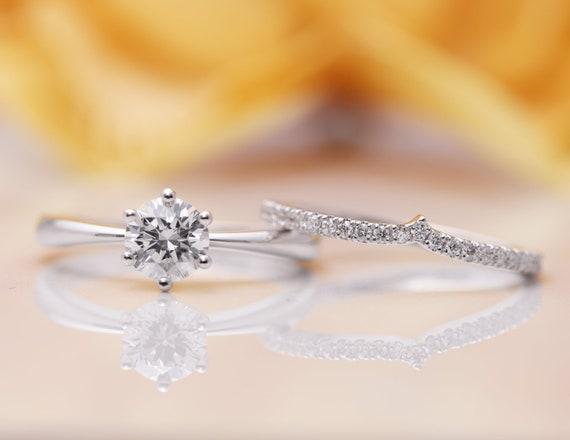 14k 0.5CT Moissanite Diamond Engagement Ring Set/Moissanite Engagement Ring Set/14k Gold Proposal Ring/Diamond Engagement Ring/Moissanite