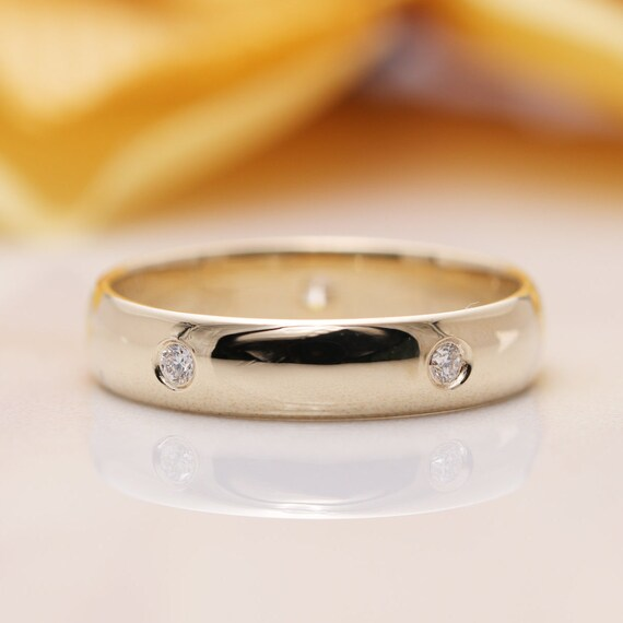 14K Gold Diamond Classic Plain Wedding Band/Promise Couple Rings/Lovers Rings/His & Hers Wedding Band Set/Mens Womens Wedding Band/Bands
