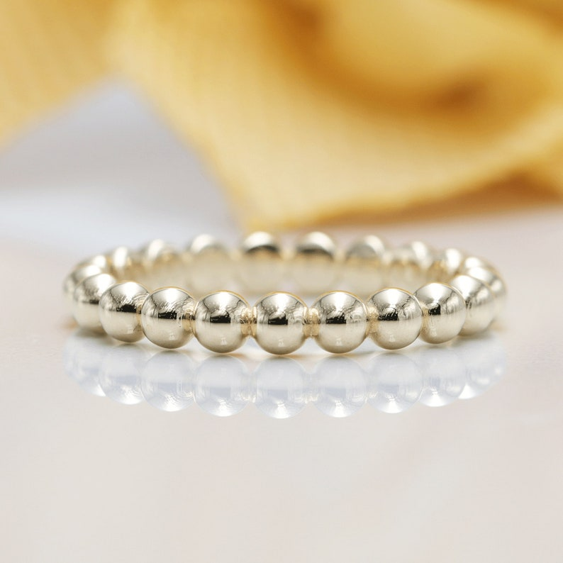 14K Gold 3mm Bead Ring/Perfect Matching Band for Engagement image 0