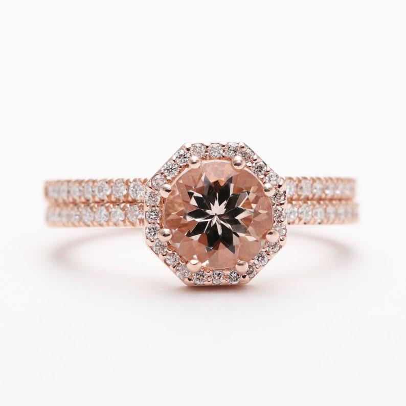 14kgold Morganite Diamond Bridal Ring Set/Rose Gold Morganite image 0
