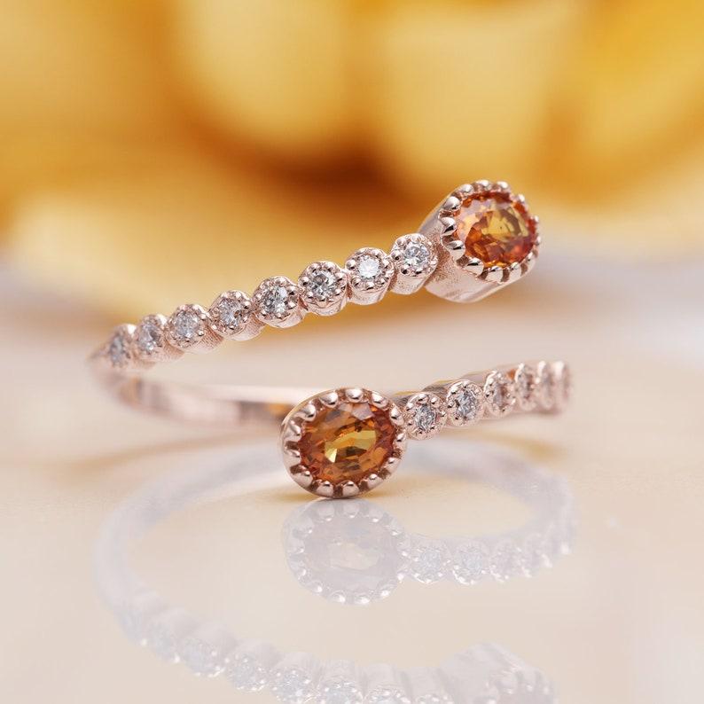 Natural Orange Sapphire Ring. Diamond ring.14k  Rose Gold image 0
