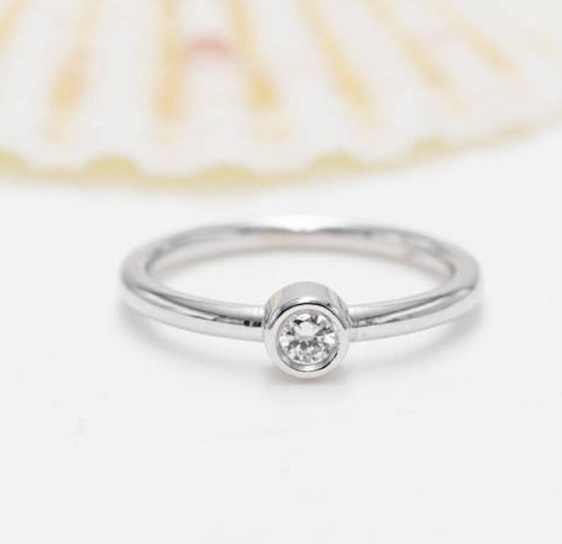 14K Gold Bezel Diamond Ring. 0.03CT Diamond Ring.14K Yellow image 0
