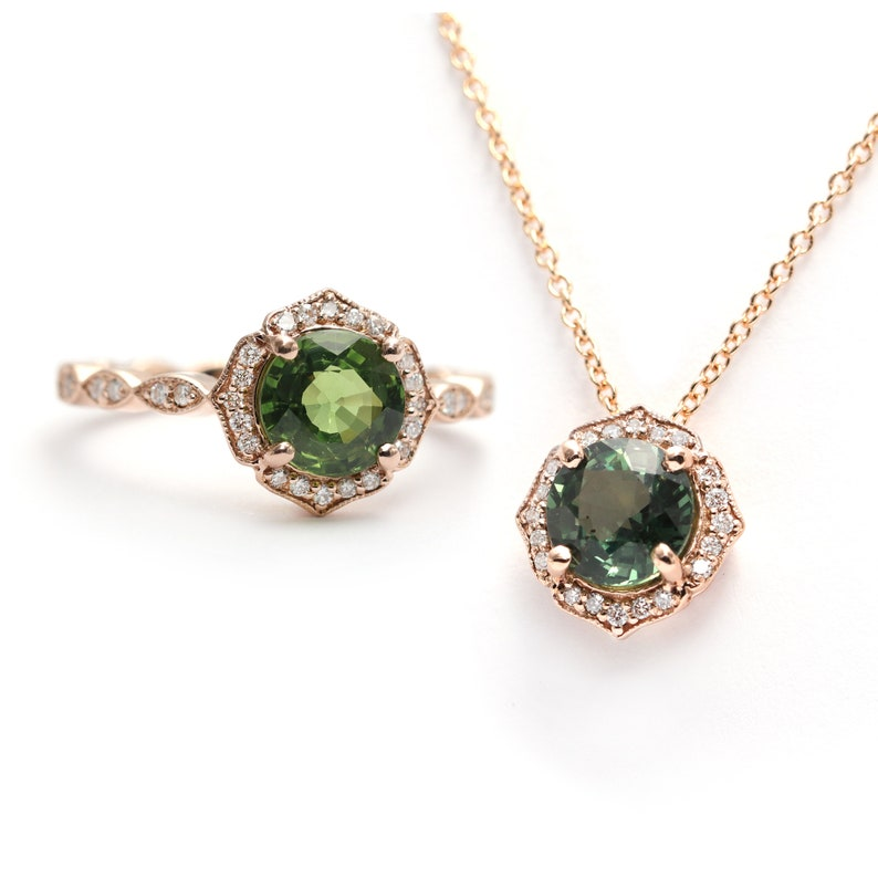 Natural Green Sapphire Floral Engagement Ring & Necklace image 0