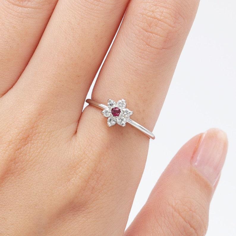 14K White Yellow & Rose Gold Snowflake Natural Ruby Diamond image 0