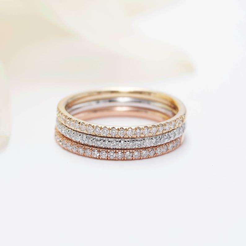 Set of 3 14K Gold 1.7mm Diamond Halfway Wedding Band/14K image 0