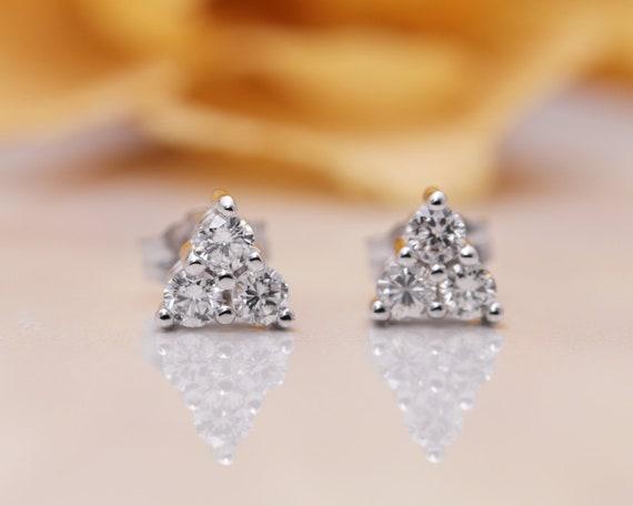 14k Diamond Triangle Stud Earring/Tear Drop Diamond Stud Earrings/Crown Earrings /14K Solid Gold Earrings/Stud Earrings/Diamond Earrings