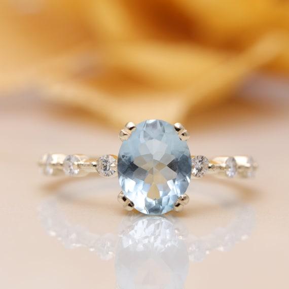 14K Gold High Quality Oval Blue Aquamarine Diamond Engagement Ring/Blue Gem Classic Engagement ring/Birthday Ring/Aquamarine Ring/March Ring