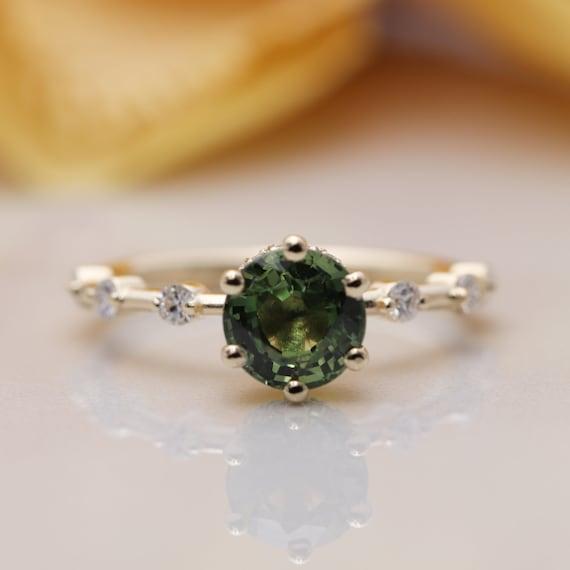 14k Gold Round Green Sapphire Diamond Engagement Ring/Green Gem Classic Engagement ring/Birthday Diamond Ring/Round Sapphire ring/Proposal