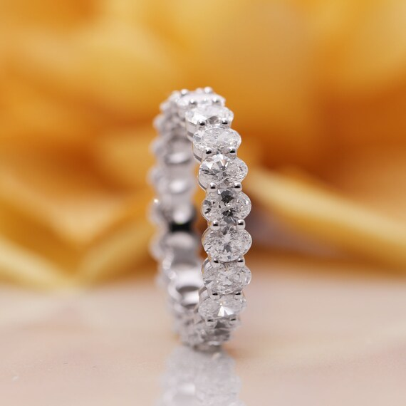 14k Gold Oval Diamond Eternity Wedding Band/Diamond Ring/Perfect Matching Band/All The Way Diamond Ring/Full Eternity Band/Promise Ring/Ring