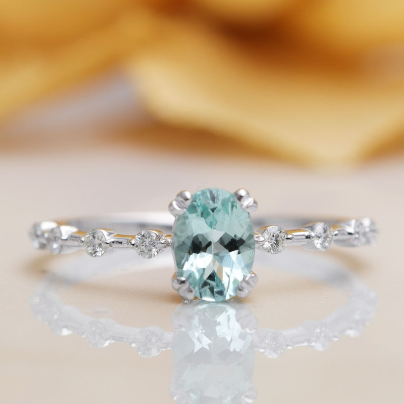 14K Gold High Quality Oval Blue Aquamarine Diamond Engagement image 0