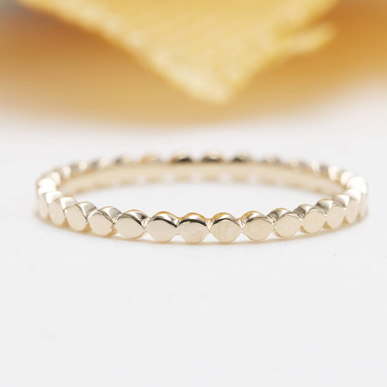 14K Yellow Gold Flat Dainty Bead Ring /Dotted Band/Perfect image 0