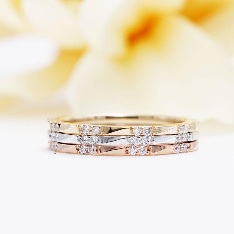 Set of 3 14K Gold Diamond Half Eternity Wedding Band/Diamond image 0