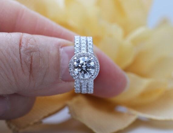 14k Gold 1.5 CT Moissanite Ring Set/Moissanite Engagement Ring Set/Engagement Ring Set/Promise Ring Set/Proposal Ring Set/Bridal Ring Set