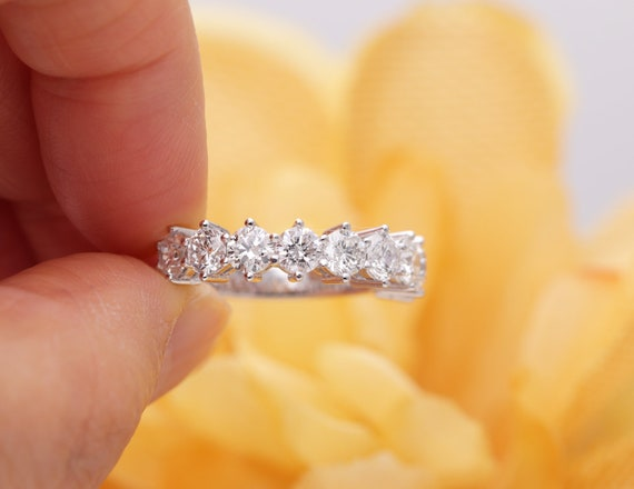 14K Nine Stone Diamond Halfway Wedding Band/Diamond Ring/Perfect Matching Band for Any Engagement Ring/Stacking Ring/Nine Anniversary Band